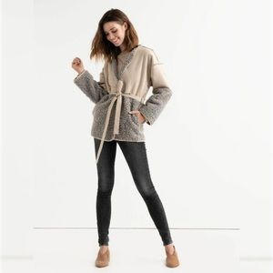 Lucky Brand Mixed Faux Shearling Jacket Small
